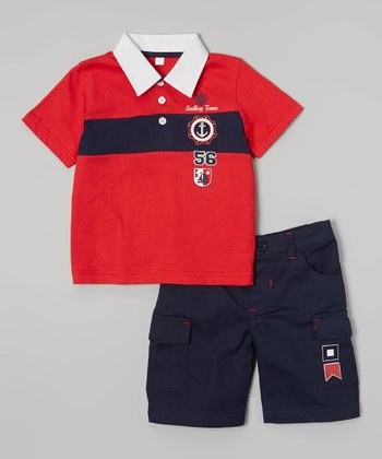 Peanut Buttons Red 'Sailing Team' Polo & Navy Shorts - Infant & Toddler