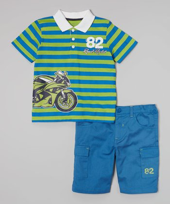 Peanut Buttons Green 'Road Rocket' Polo & Blue Shorts - Infant, Toddler & Boys
