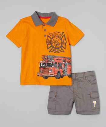 Peanut Buttons Orange 'Fire Dept' Polo & Khaki Shorts - Infant, Toddler & Boys