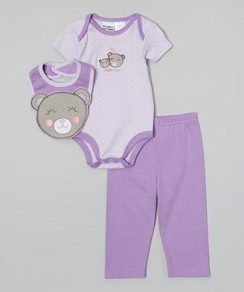 Peanut Buttons Purple Polka Dot 'I Love Hugs' Bodysuit Set - Infant
