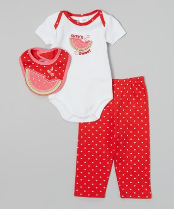 Peanut Buttons White & Red 'Cute 'N Sweet' Watermelon Bodysuit Set - Infant