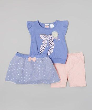 Peanut Buttons Purple Polka Dot Bow Skirt Set - Infant & Toddler