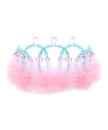 Pink & Blue Feather Beaded Tiara
