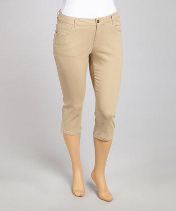 Khaki Classic Capri Pants - Plus