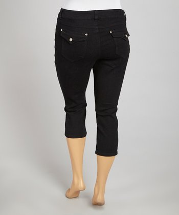 Black Ebony Flap Pocket Capri Pants - Plus