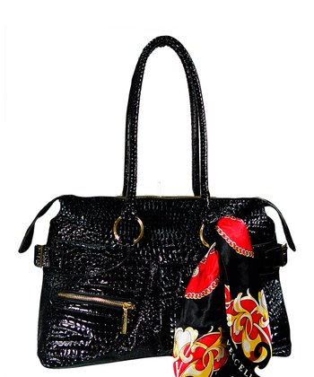 Black Zipper Alligator Satchel
