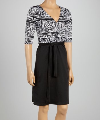 Black & White Tribal Wrap Dress