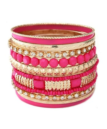 Fuchsia & Gold Bangle Set