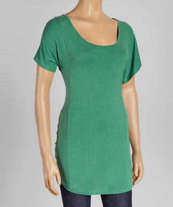 Dark Green Short-Sleeve Top