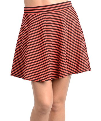 Coral & Black Stripe Skirt