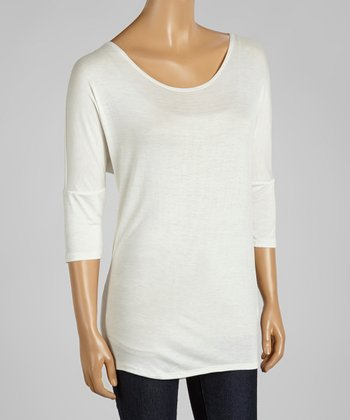 White Dolman Scoop Neck Top