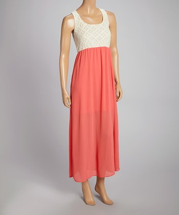 White & Coral Embellished Color Block Maxi Dress