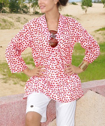 Red & White Polka Dot Tunic