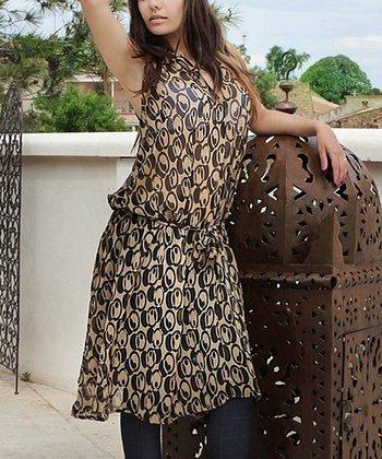 Khaki & Black Abstract Sheer Button-Up Dress
