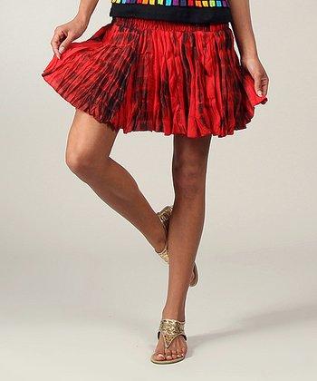 Red Tie-Dye Ruffle Skirt