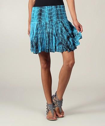 Turquoise Tie-Dye Ruffle Skirt