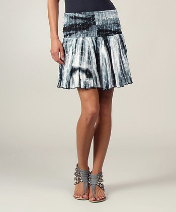 Black Tie-Dye Ruffle Skirt
