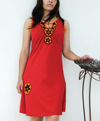 Red & Orange Cutout Sleeveless Dress