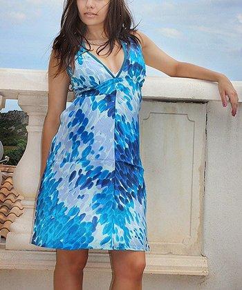 Blue Paintbrush V-Neck Dress