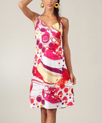 Pink & Yellow Circles Sleeveless Dress