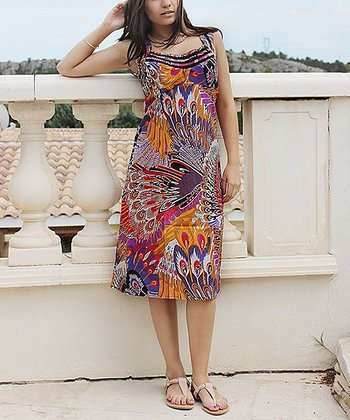 Purple Peacock Sleeveless Dress