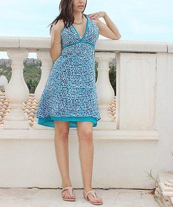 Blue Dot V-Neck Dress