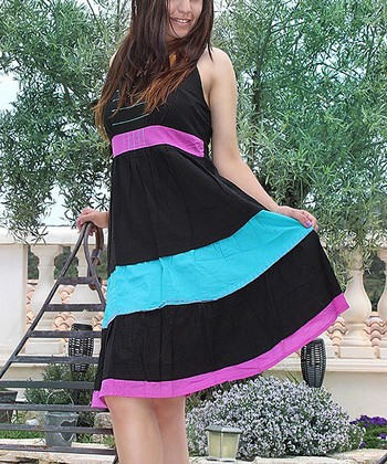Black Color Block Sleeveless Dress
