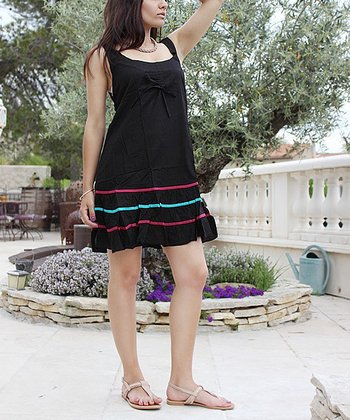 Black Ruffle Sleeveless Dress