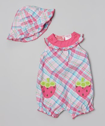 Pink Plaid Strawberry Yoke Romper & Hat - Infant