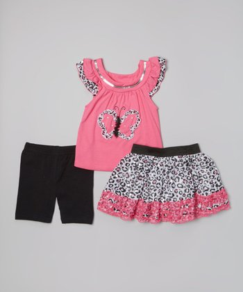 Pink Butterfly Ruffle Top & Leopard Skirt Set - Girls