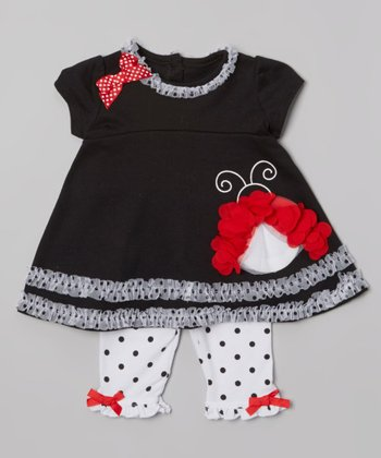 Black Ladybug Ruffle Top & White Polka Dot Leggings - Infant
