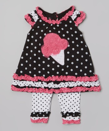 Black Polka Dot Ice Cream Ruffle Tunic & White Leggings - Infant