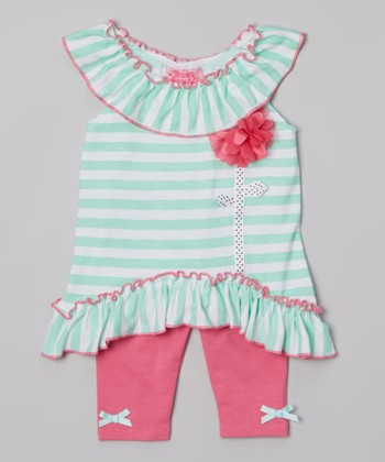 Mint Stripe Ruffle Yoke Tunic & Pink Leggings - Infant & Toddler