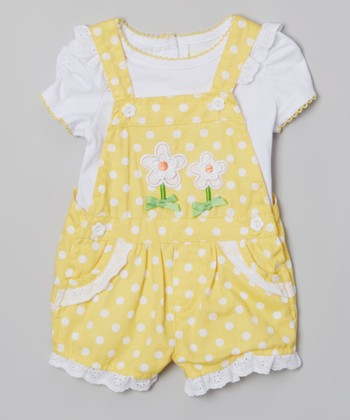 White & Yellow Polka Dot Layered Romper - Infant