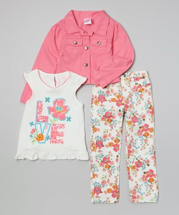 Pink & White 'Love' Jacket Set - Infant