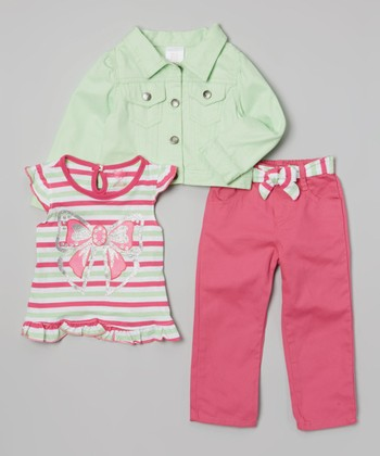 Mint & Pink Bow Jacket Set - Infant, Toddler & Girls
