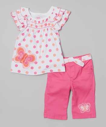 White Polka Dot Butterfly Top & Pink Pants - Infant & Toddler