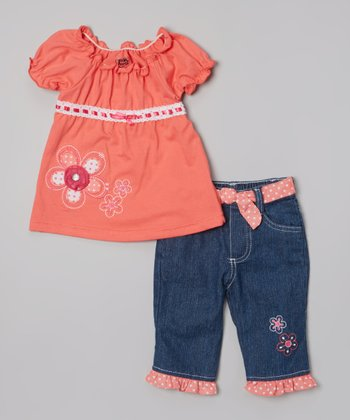 Orange Flower Peasant Top & Jeans - Infant & Toddler