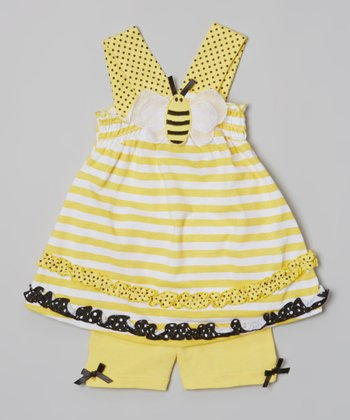 Yellow Stripe Bee Tunic & Shorts - Infant & Toddler
