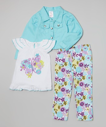 Blue Butterfly Jacket Set - Girls