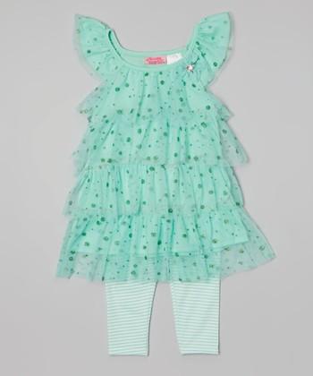 Mint Glitter Tiered Tunic & Leggings - Infant & Toddler