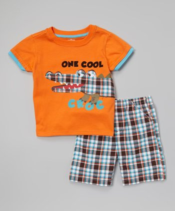 Orange 'Croc' Tee & Plaid Shorts - Toddler