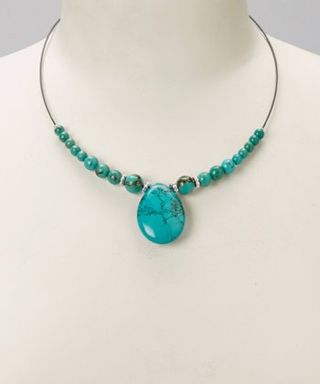 Turquoise and Silver Stone Pendant Circle Necklace