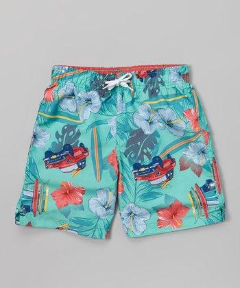 Sand Castle Turquoise Luau Car Swim Trunks - Boys
