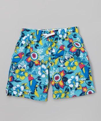 Sand Castle Blue & Yellow Hibiscus Swim Trunks - Boys