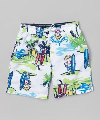 Sand Castle White & Blue Surfer Guy Swim Trunks - Boys