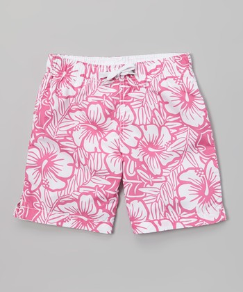 Sand Castle Pink & White Hibiscus Swim Trunks - Boys