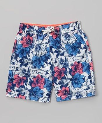 Sand Castle Red & Blue 'Summer's Here' Swim Trunks - Toddler & Boys