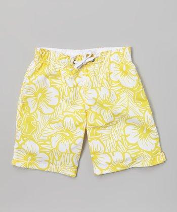 Sand Castle Yellow & White Hibiscus Swim Trunks - Toddler & Boys