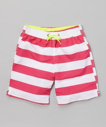 Sand Castle Fuchsia & White Stripe Swim Trunks - Boys